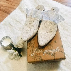 LAST DAY! NWT! Free People Lace Slip On Mules